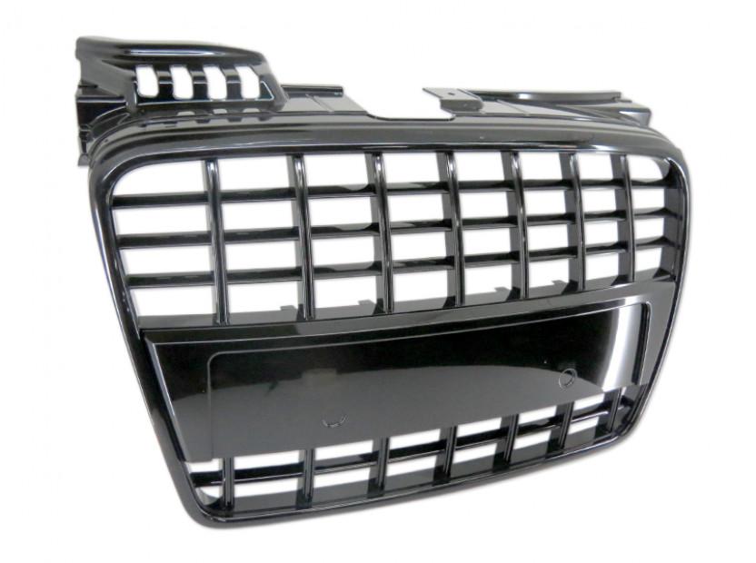 Черен лак решетка без емблема за Audi A4 2004-2007 тип S8 без отвори за парктроник, за стандартна предна броня 3