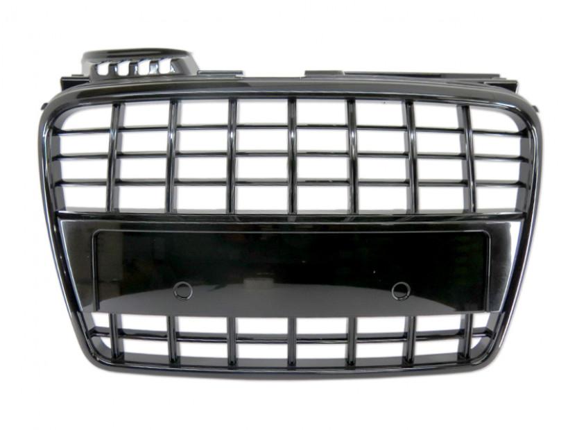 Черен лак решетка без емблема за Audi A4 2004-2007 тип S8 без отвори за парктроник, за стандартна предна броня