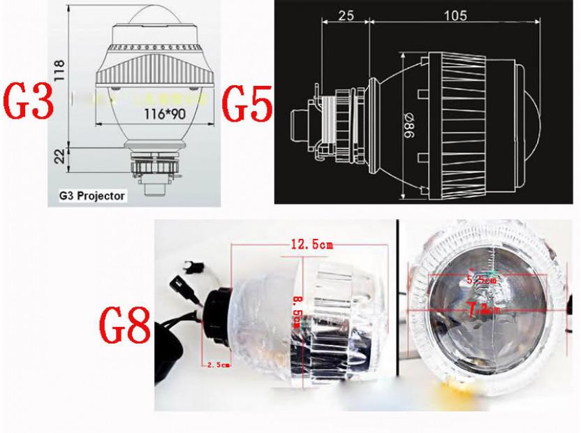 Универсални Би-ксенонови лупи G8 Н1/Н7 6000К 6