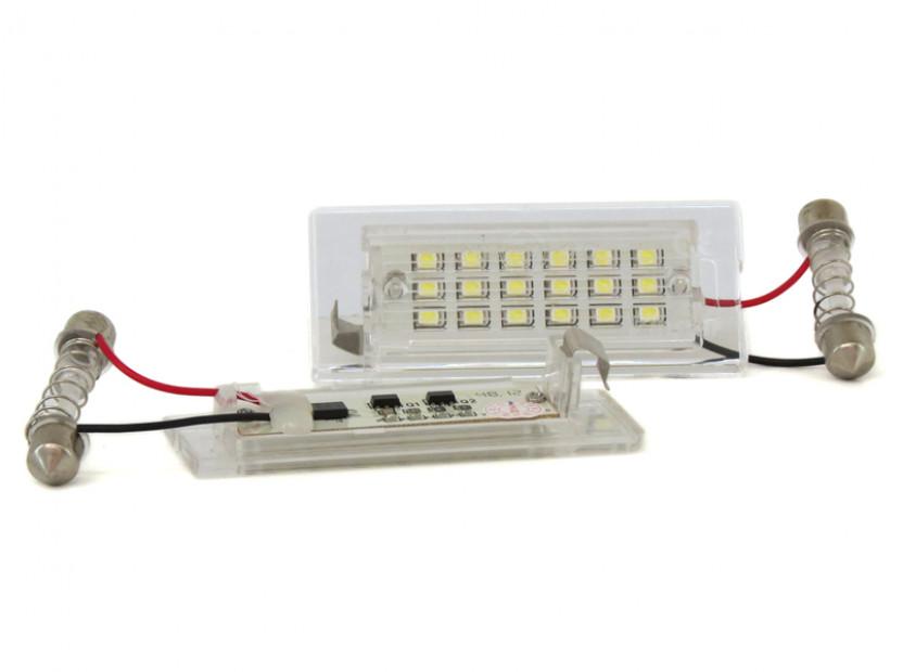 Комплект LED плафони за регистрационен номер за BMW X3 E83 2003-2010, X5 E53 1999-2006, ляв и десен 3