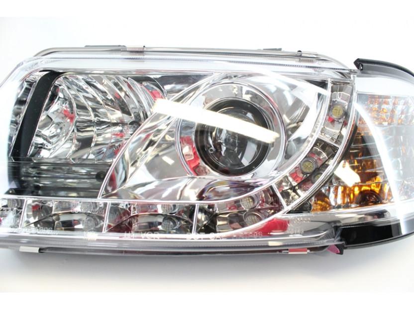 Комплект тунинг фарове с дневни светлини и лупи за Audi A3 1996-2000 с хром основа , ляв и десен 6