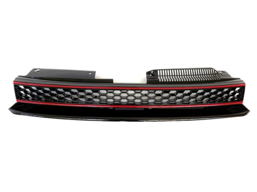 Черна решетка без емблема тип пчелна пита за VW Golf VI GTI 2008-2012