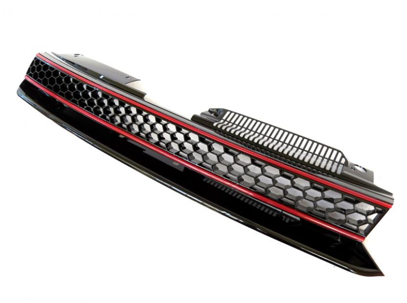 Черна решетка без емблема тип пчелна пита за VW Golf VI GTI 2008-2012 3