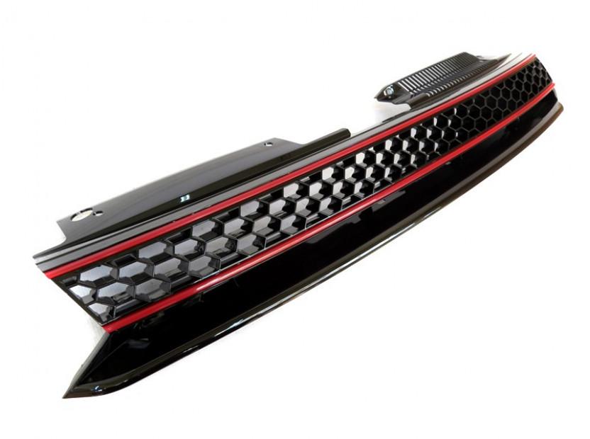 Черна решетка без емблема тип пчелна пита за VW Golf VI GTI 2008-2012 4