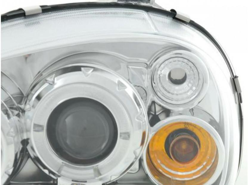 Комплект тунинг фарове с ангелски очи и лупи за Opel Corsa B 1993-2000 с хром основа  , ляв и десен 5