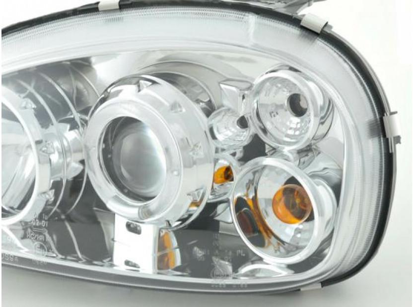 Комплект тунинг фарове с ангелски очи и лупи за Opel Corsa B 1993-2000 с хром основа  , ляв и десен 4