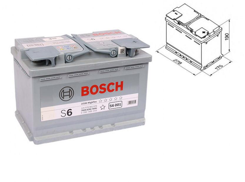 Акумулатор BOSCH AGM-technology S6 12V 70Ah 760 A с десен (+)