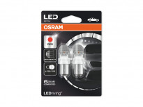 Комплект 2 броя LED лампи Osram тип P21/5W червени, 12V, 2/0.4W, BAY15d