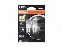 Комплект 2 броя LED лампи Osram тип P21/5W жълти, 12V, 2/0.4W, BAY15d