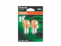 Комплект 2 броя халогенни крушки Osram PY21W Ultra Life 12V, 21W, BAU15s