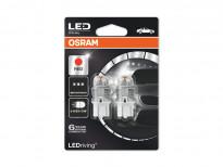 Комплект 2 броя LED лампи Osram тип W21/5W червени, 12V, 1.5W, W3x16q