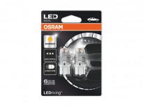 Комплект 2 броя LED лампи Osram тип W21/5W жълти, 12V, 1.5W, W3x16q
