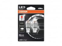 Комплект 2 броя LED лампи Osram тип W16W червени, 12V, 2W, W2.1x9.5d