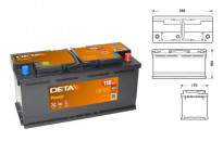 Акумулатор Deta Power 110Ah 850 A с десен (+)