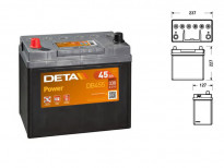 Акумулатор Deta Power 45Ah 300 A с ляв (+)