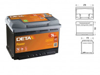 Акумулатор Deta Power 74Ah 680 A с десен (+)