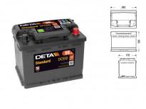 Акумулатор Deta Standard 55Ah 460 A с десен (+)