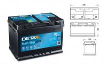 Акумулатор Deta Start & Stop AGM 70Ah 760 A с десен (+)