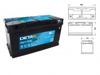 Акумулатор Deta Start & Stop AGM 95Ah 850 A с десен (+)
