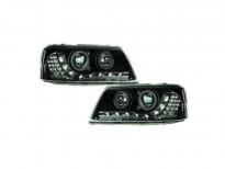 Тунинг фарове с габаритна LED светлина и лупи за Volkswagen Multivan T5 2003-2010 с черна основа