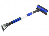 Стъргалка за лед с телескопична дръжка и движеща се на 90° четка за сняг Petex 66 см / 89 см  синя