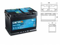 Акумулатор Deta Start & Stop AGM 70Ah 760 A с десен (+)