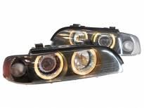 Тунинг фарове с ангелски очи и лупи за BMW серия 5 Е39 1995-2000 с черна основа
