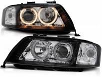 Комплект тунинг фарове с халогенни ангелски очи за Audi A6 C5 05.1997-05.2001 седан/комби , ляв и десен