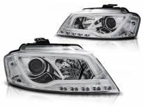 Комплект тунинг фарове с истински DRL светлини за Audi A3 8P 2008-2012 3D/5D , ляв и десен