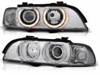 Комплект тунинг фарове с халогенни ангелски очи за BMW E39 09.1995-05.2003 седан/комби , ляв и десен