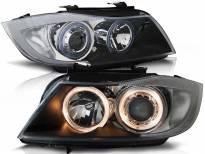 Комплект тунинг фарове с халогенни ангелски очи за BMW 3 E90/E91 03.2005-08.2008 , ляв и десен
