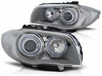 Комплект тунинг фарове с халогенни ангелски очи за BMW 1 E81 2004-2011/ E82 2007-2011/ E87 2004-2011/ E88 2007-2013 , ляв и десен
