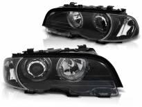 Комплект тунинг фарове с LED ангелски очи за BMW 3 E46 04.1999-03.2003 купе/кабрио , ляв и десен