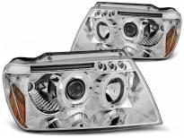 Комплект тунинг фарове с халогенни ангелски очи за Chrysler JEEP GRAND CHEROKEE 1999-05.2005 , ляв и десен