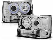 Комплект тунинг фарове с халогенни ангелски очи за Chrysler JEEP GRAND CHEROKEE 1993-1998 , ляв и десен