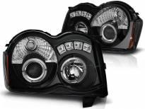 Комплект тунинг фарове с халогенни ангелски очи за Chrysler JEEP GRAND CHEROKEE 2008-2010 , ляв и десен