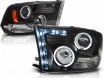 Комплект тунинг фарове с халогенни ангелски очи и LED лента за Dodge RAM 2009-2011 , ляв и десен