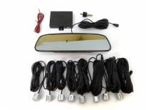 Парктроник система с LED дисплей тип огледало за обратно виждане с 8 сиви датчика