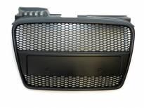 Черна решетка без емблема тип RS за Audi A4 2004-2008 без отвори за парктроник