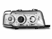 Тунинг фарове с халогенни ангелски очи за Audi 80 B4 09.1991-04.1996