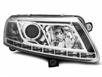 Тунинг фарове с истински DRL светлини за Audi A6 C6 04.2004-2008 седан/комби