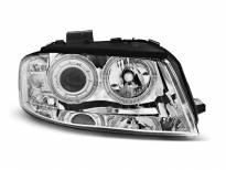 Тунинг фарове с халогенни ангелски очи за Audi A3 8P 05.2003-03.2008 3D/5D