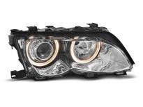 Тунинг фарове с халогенни ангелски очи за BMW 3 E46 09.2001-03.2005 седан/комби