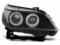 Тунинг фарове с халогенни ангелски очи за BMW E60/E61 2003-2007