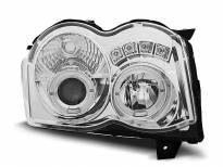 Тунинг фарове с халогенни ангелски очи за Chrysler JEEP GRAND CHEROKEE 2008-2010