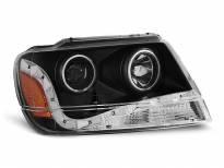 Тунинг фарове с CCFL ангелски очи и LED лента за Chrysler JEEP GRAND CHEROKEE 1999-05.2005