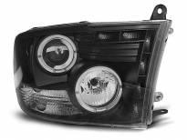 Тунинг фарове с халогенни ангелски очи и LED лента за Dodge RAM 2009-2011