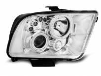 Тунинг фарове с халогенни ангелски очи за Ford MUSTANG 2004-2009