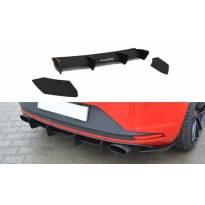 Добавка Maxton Design за дифузьор с вертикални ребра и сплитери за задна тунинг броня за Seat Leon III Cupra 2012-2016, черен мат