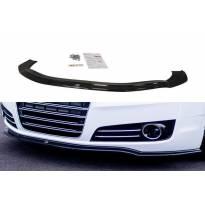 Спойлер Maxton Design за стандартна предна броня на Audi A8 D4 2009-2013, черен лак